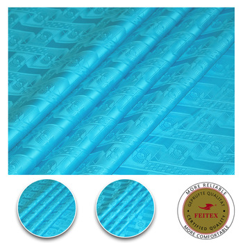 African Fabric Material Top Level Quality Turquoise Color Bazin Riche Fabric Guinea Brocade with perfume For Cloth