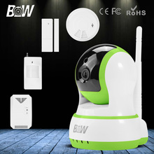 3.6mm endoscopio hd cctv cámara ip inalámbrica de infrarrojos + motion & Sensor de la puerta + Detector de Humo y Gas de Alarma GSM de Seguridad Wifi cámara