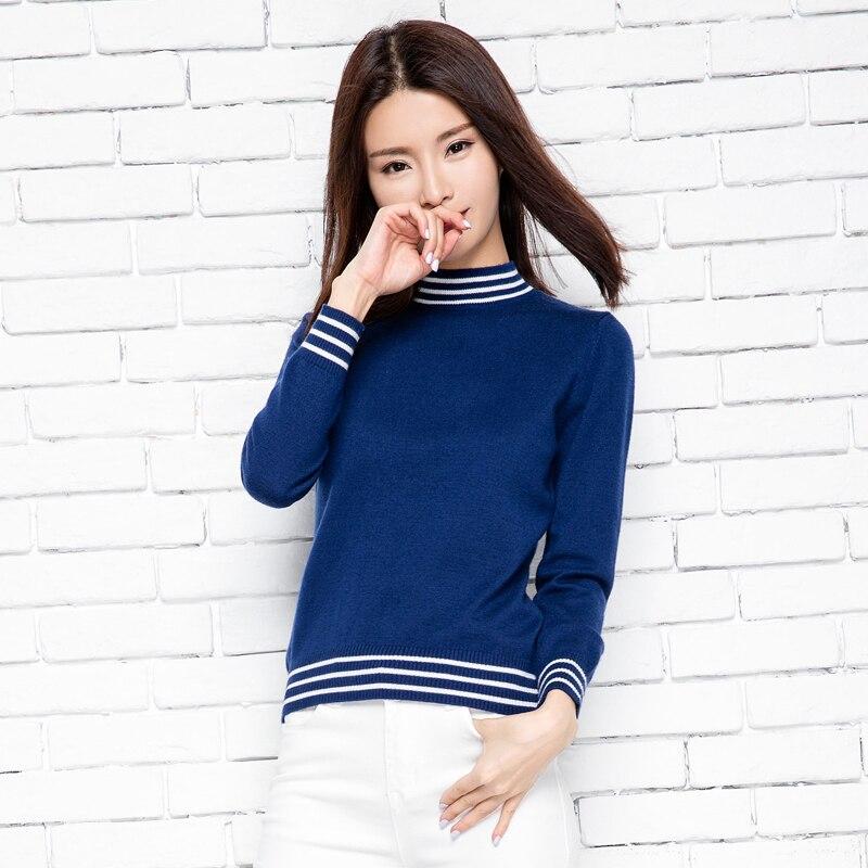 Venta caliente de lana de Cachemira mujer primavera oneck camisa suéter de la señora forma de color moda femenina Tops mujer ropa envío gratis