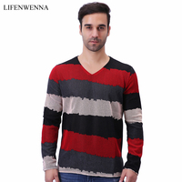 2017 Autumn Men S V Neck T Shirt New Fashion Brand Striped Patchwork Long Sleeve T