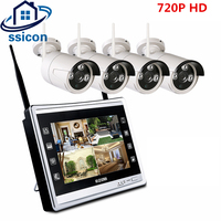 SSICON 4CH 720P 2 in 1 LCD Monitor Wireless NVR CCTV System 12.5 Inch Screen Outdoor 1MP IP Wifi Camera Security Kit