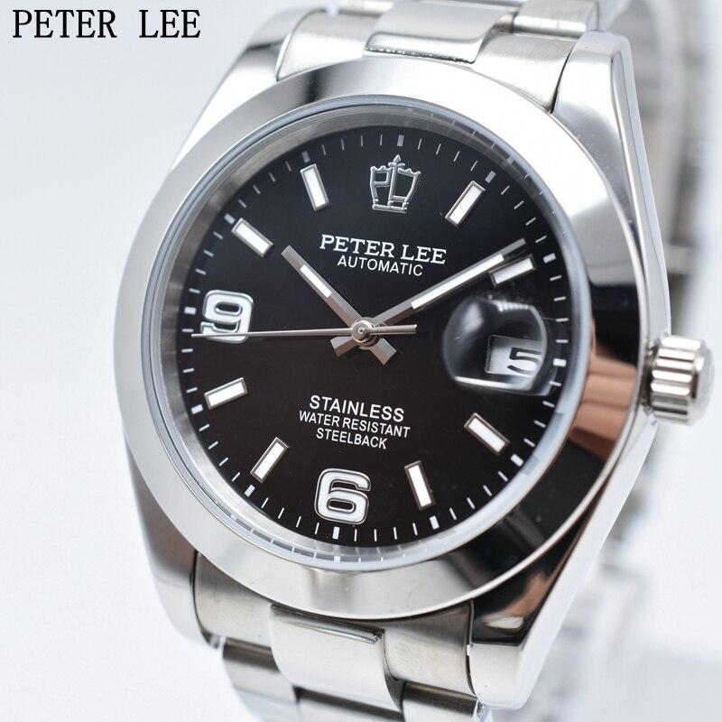 Fashion PETER LEE Brand Luxury Full Steel Bracelet Waterproof Automatic Mechanical Business Clocks Classic Dial 38mm Innrech Market.com