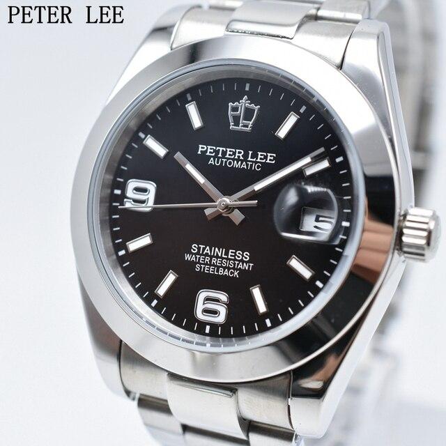 Fashion PETER LEE Brand Luxury Full Steel Bracelet Waterproof Automatic Mechanical Business Clocks Classic Dial 38mm Mens Watch