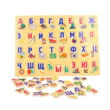 Wooden Puzzle Russian Letter Learning Board Child Alphabet Watch Grabs Early Cognitive 3D