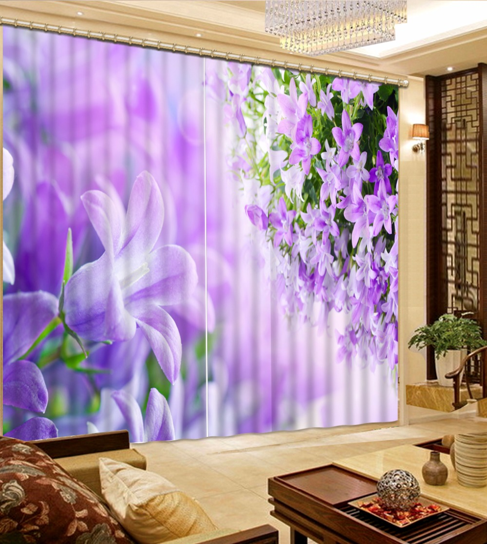 3D Blackout Window Curtain Photo Curtains Living Room Beautiful purple flower Curtains For Wedding room Home Decor