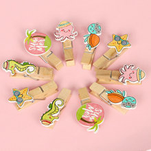 10 pcs/pack Creative Marine animal Wooden Clip Photo Craft DIY Clips with Hemp Rope  Clothespin Decoration Pegs