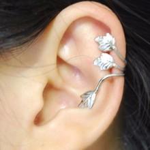 Hot Sale Fashion Clip Earring Women Vintage Jewelry No Piercing Silver Plated Leaf On Ear Cuff Wrap Spring Summer