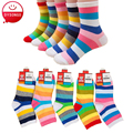 Fashion Toddler Baby Socks Boy And Girl Rainbow Striped Cotton Socks  Kids In tube Socks Children Sock 1-10 Years  5 Pairs / Lot