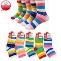 Moda Da Criança Do Bebê Meias Menino E Menina Rainbow Listrado Meias de Algodão crianças Em Meias tubo Crianças Meias 1-10 Anos 5 Pares/lote