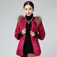 A Fur Coat Girls Long 2016 New Winter Rabbit Fur Coat Integral Skin Long Slim Slim