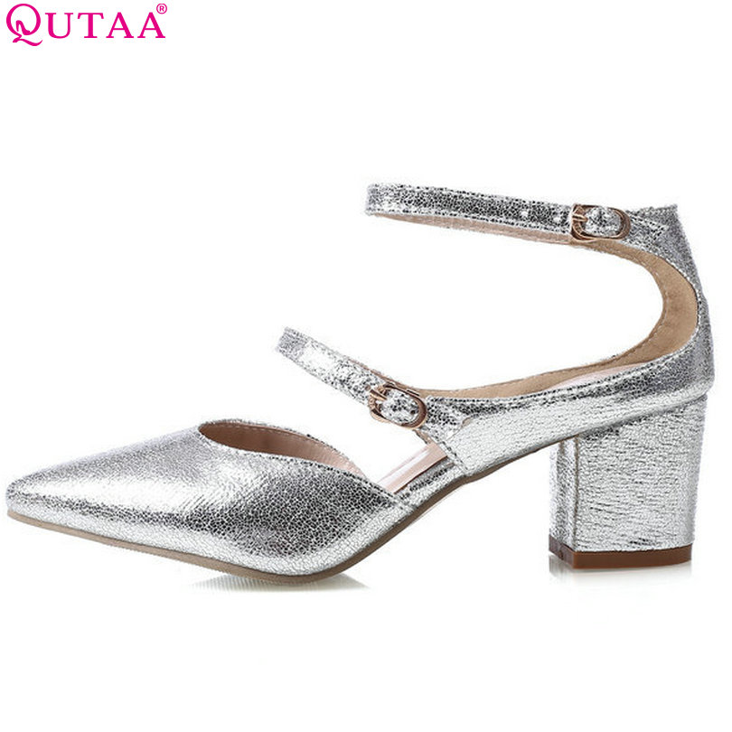 QUTAA Spring And Summer Square High Heel Women Pump Pointed Toe Ankle Strap Ladies Wedding Shoes Size 34-43 new 2017 spring summer women shoes pointed toe high quality brand fashion womens flats ladies plus size 41 sweet flock t179