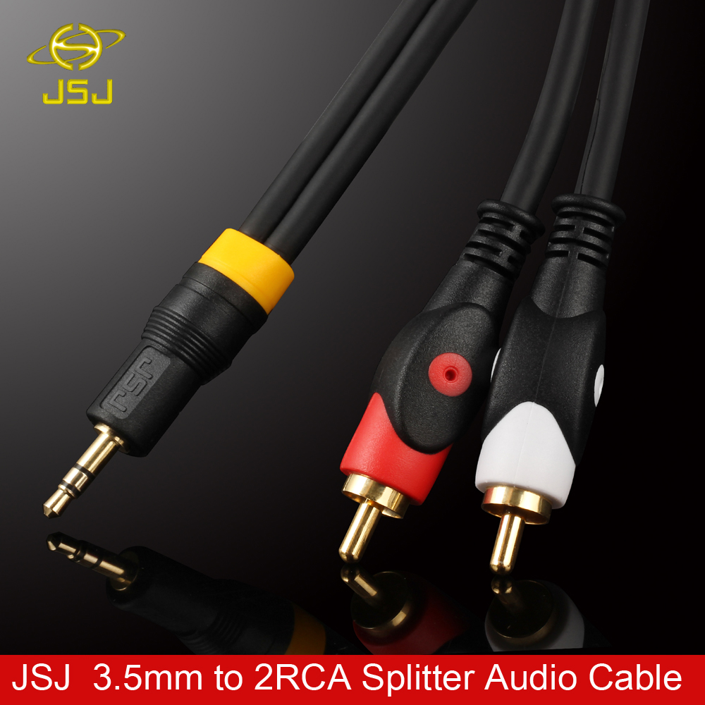 JSJ HIFI Jack 3.5mm Stereo Male to 2RCA Male Audio Splitter Cable ...