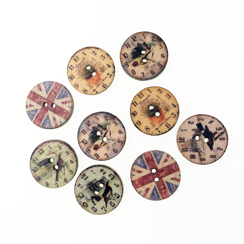 100pcs vintage popular bulk mixed wooden button clock for Decorative pins for crafts