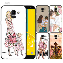 Silicone Case For Samsung Galaxy J4 J6 A6 A8 Plus A7 A9 J8 2018 A5 2017 Soft Cover Shell Mother and child cartoon(China)