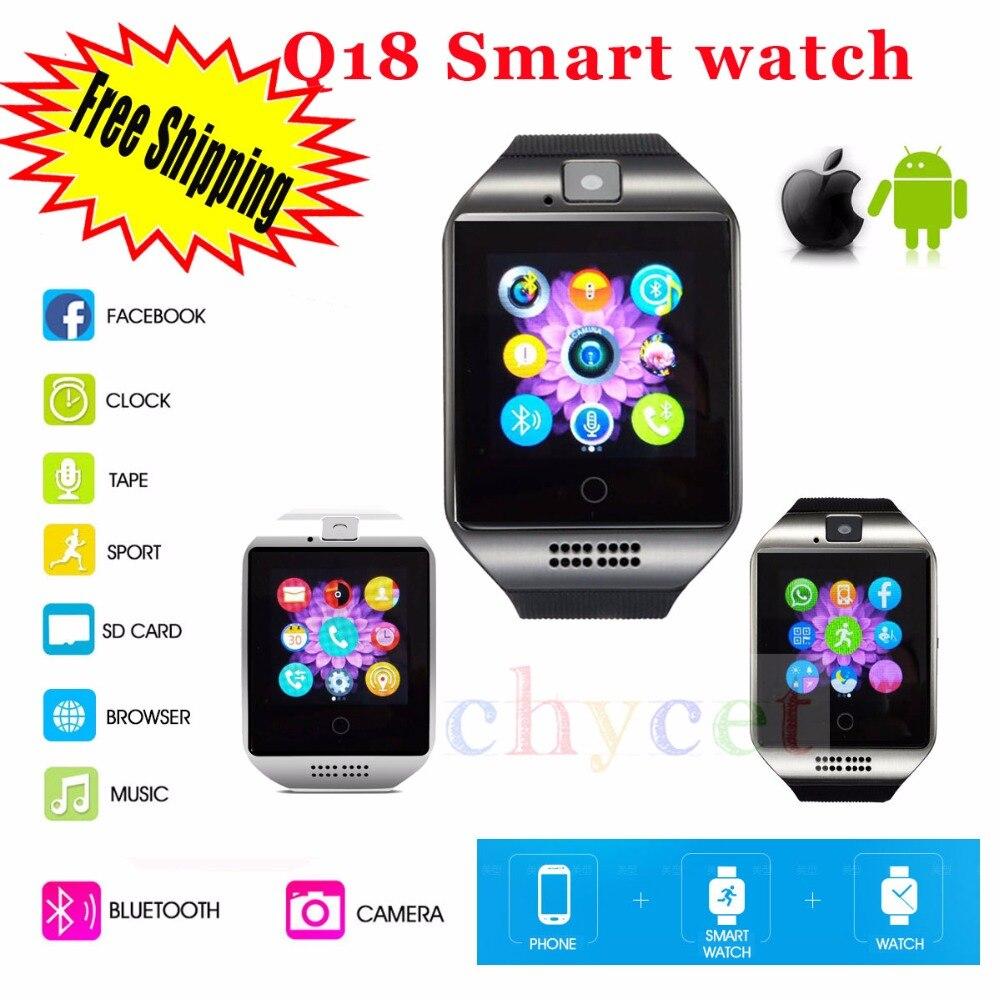 2016 font b SmartWatch b font Q18 Wristwatch with Touch Screen Camera TF Card Bluetooth Fashion