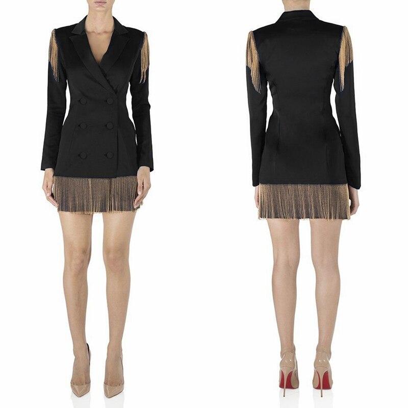 Party Femmes Automne Noir V Clubwear Robe 2019 Nouveau Celebrity Hiver Patchwork Bouton Cou Mode Glands Mini Chaîne Robes 76gIbfyvYm
