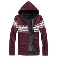 秋のメンズセーター2017ニットカーディガン編み男のスリムニット服sweatercoats厚いフード付きセーターウールジャケッ