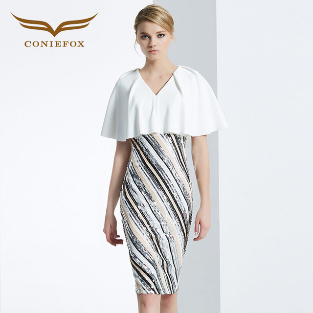 Coniefox 31623 v ausschnitt paket hüfte kleid mode sexy damen ...