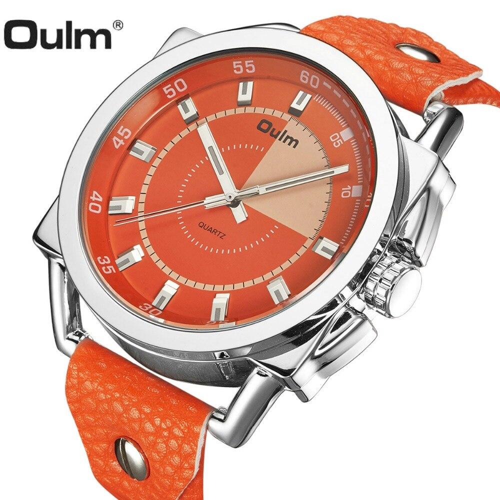06cb54108e6 OULM 2018 Relógio de Quartzo Moda Homens Oversize Laranja Mostrador do  Relógio PU Pulseira De Couro