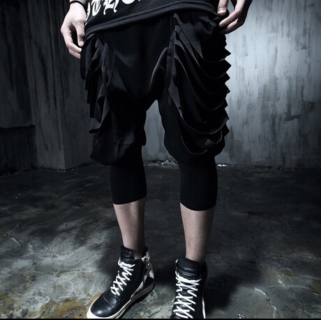 New summer tide harem pant hole low crotch pants large size men's casual boys slim non-mainstream stage singer costumes clothing