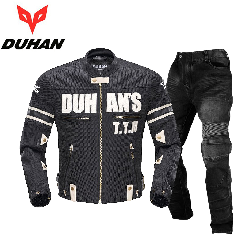Moto DUHAN Motorcycle Men's Summer Mesh Oxford Cloth Jacket Clothing Motocross Off-Road Racing Protection Coat&Pants M-2XL Black duhan oxford cloth motorcycle jacket motocross off road racing jacket men rider clothes with five pcs protector gurds