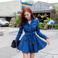 New Dress 2016 Long Sleeve Denim Blue Sweety Bow Knee-Length Sexy Dress High Quality Cowboys Dresses Jeans Women Dress With Belt