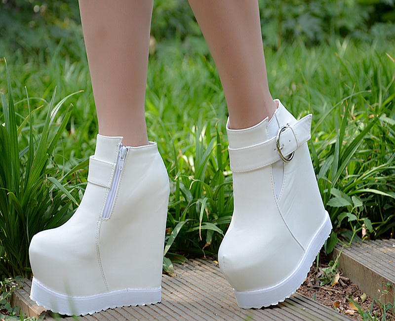 ФОТО Slope with ultra-high heel boots 15cm new waterproof heavy-bottomed boots European and American high-heeled shoes Martin boots