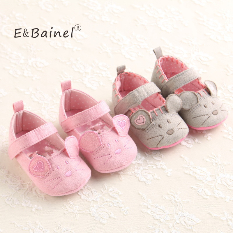 Cute Baby Girls Shoes First walkers Cotton Grey Pink Cartoon Mouse Animal Pattern Soft Sole Baby Toldder Prewalkers Crib Shoe