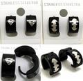 60 Pairs Superman/Batman Mix Stainless Steel Earrings Wholesale Men's Fashion Jewelry Lots