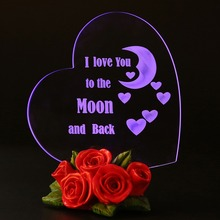 LED Night Light Birthday Gift Birthday Party Decoration Mom's Day Gift Heart Shaped Cake Topper Love You to the Moon and Back love heart shaped confession gift led night light