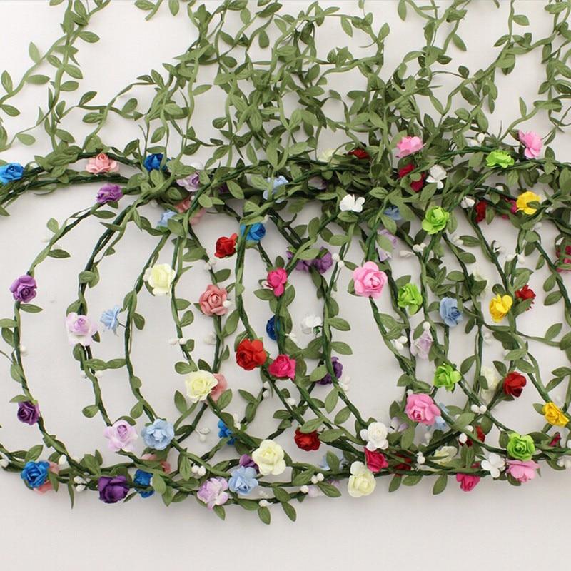 9 Colors Tassel Shaped Flower Headband Bohemian Floral Crown Wedding Garland Forehead HeadBand Beach Wreath  Wedding Bride Crown