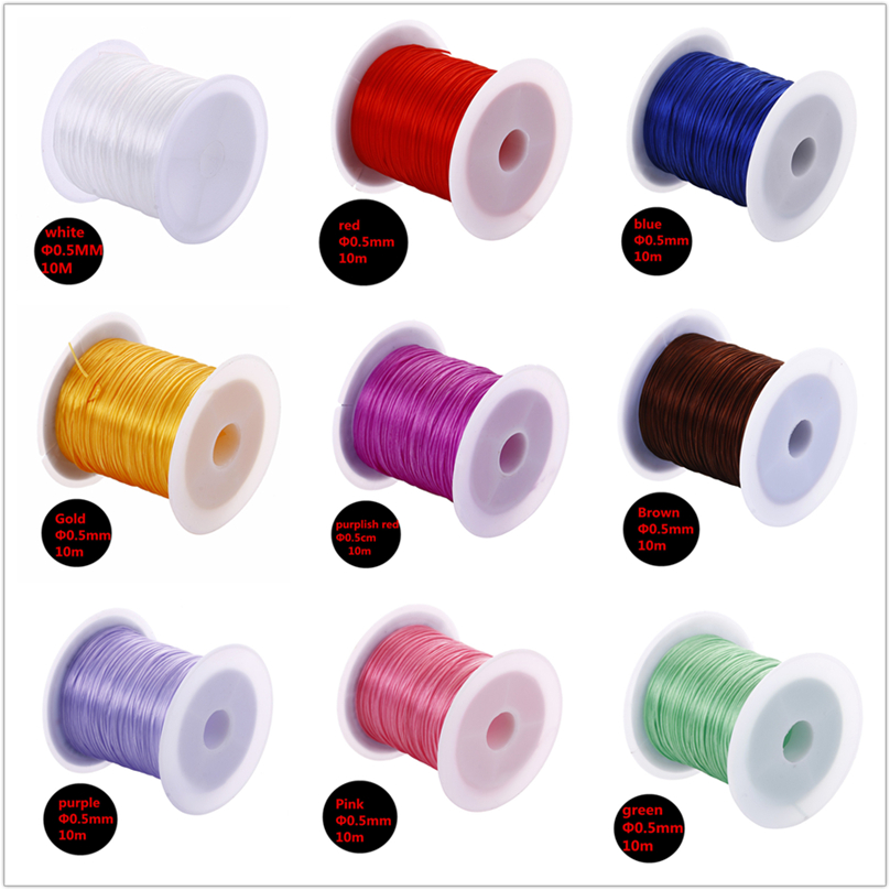 PZ20 Fashion DIY Jewelry 1 Roll Black Red Green White Fish Wire 10m Elastic Line For Necklaces Bracelet Jewelry Making Wholesale