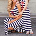 Matching Mom And Daughter Dresses Sleeveless Casual Skirt The Ankle Blue Striped 2016 Mother Daughter Matching Dresses VCS52 T50