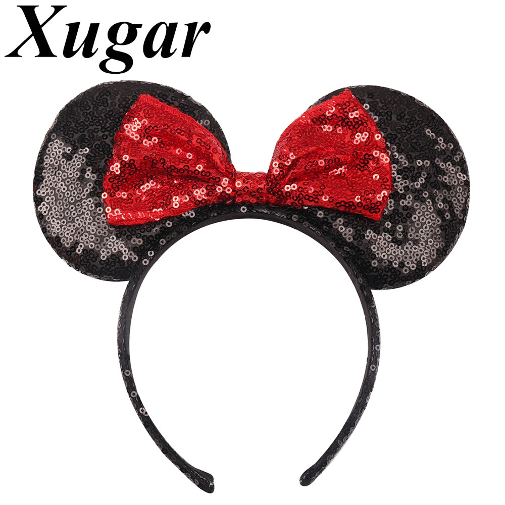 Xugar Hair Accessories Hairbands Sequin Minnie Mouse Hairband for Women Girl Headbands Birthday Party Kids   Headwear