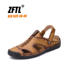 цены ZFTL New Men Sandals Handmade Man Casual beach sandals genuine leather large size male leisure outdoor slippers non-slip   064