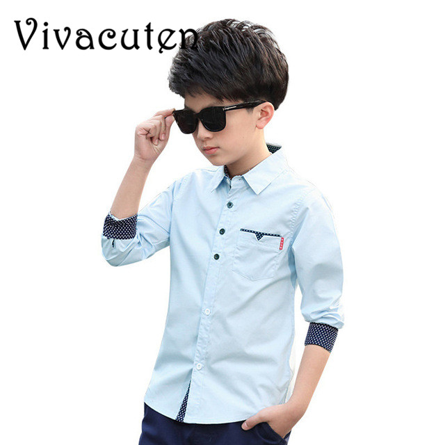 New Teenager Solid Shirts for Boys Fashion Tops New Autumn Children Clothing Spring Kids Cotton Blouses Infant Boys Shirts H006 spring outfits for kids