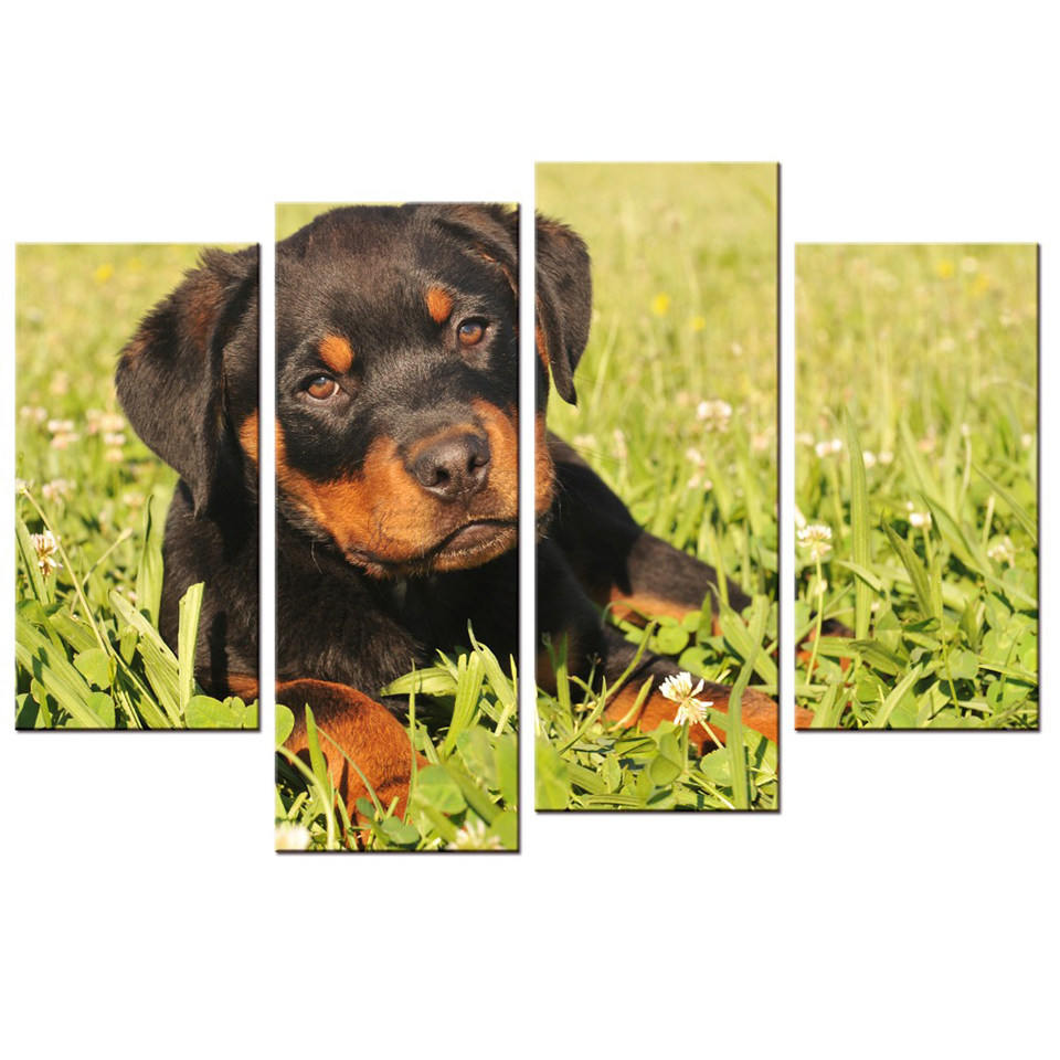 Modular Decoration Posters HD Printed 4 Panel Lovely Puppy Picture ...