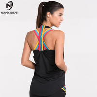 New Yoga Vest Gym Compression Tights Women's Dry Quick Running Sport vest T shirts Fitness Women Clothes Tees tops