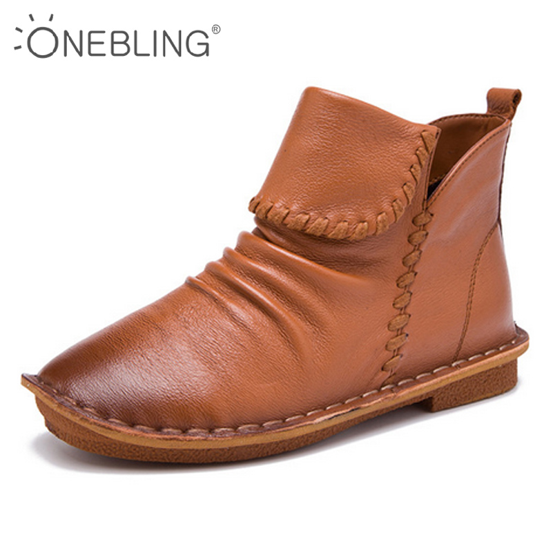 ONEBLING Fashion Sewing Women Boots 2017 Autumn Genuine Leather Casual High Top Shoes Soft Pleated Women Flat Ankle Boots front lace up casual ankle boots autumn vintage brown new booties flat genuine leather suede shoes round toe fall female fashion