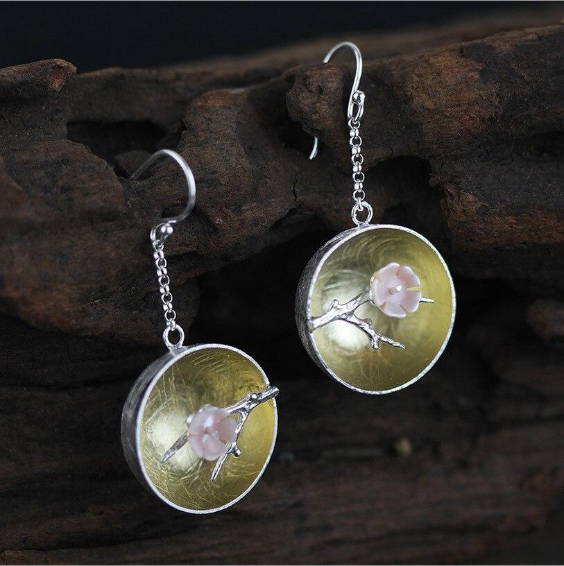Boucles d'oreilles classiques en argent Sterling S925 à fleur de prunier