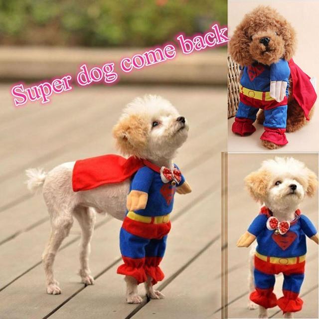 Xs Xl Pet Dog Clothes Coat Hoodies Superman Jumpsuit Coats Costumes
