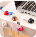 AUTOSON 6pcs/lot Universal Desktop Plastic Flat Adhesive Wire Cable Clips Clamps Fixer Holder car home dual round Clip