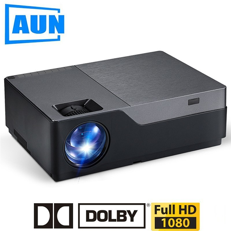 AUN Full HD Projector, 1920x1080 Resolution. LED Projector Support AC3. Home Theater. 5500 Lumens. (Optional Android WIFI) M18