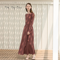 2017 Winter Elegant O Neck Long Sleeve Loose Dresses Lace Up Red Bean Paste Women's Tunic Jumper Knitted Pullover Sweater RR095