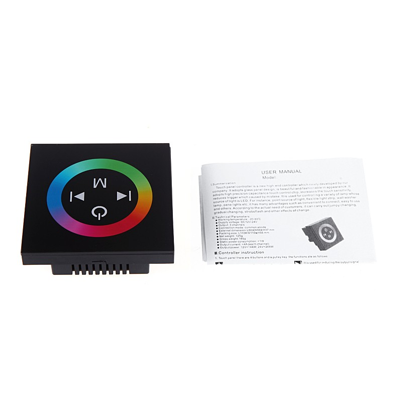 Touch Panel LED Dimmer Controller for 5050/3528 RGB LED Strip Light 12-24V Black lson 44 5050 3528 led rgb lamp strip ir controller white