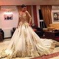 Luxury Gold Wedding Dresses With Long Sleeves Vestido De Casamento 2017 Ball Gown Appliques Robe De Mariage Plus Size
