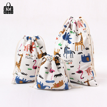 Купить с кэшбэком 1 X Green Ice cream 100% cotton bag Travel Accessories Clothes underwear shoes toy Storage Pouch Luggage Packing Organizers bag