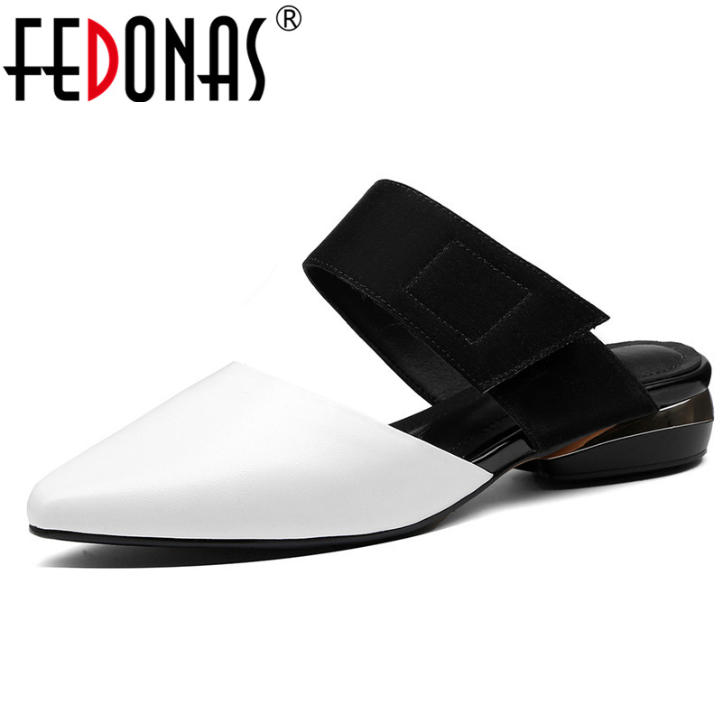 FEDONAS Elegant Women Casual Genuine Leather Pumps Party Spring Summer Shoes Woman Basic Solid Square Heels Mules High Heels