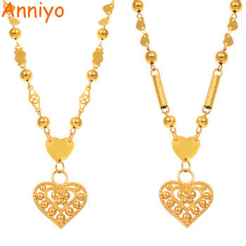 Anniyo Micronesia Heart Pendant Necklaces Ball Beads Chain for Women Girls Gold Color Guam Hawaii Marshall Jewelry #133906P - DISCOUNT ITEM  0% OFF All Category