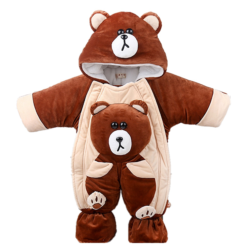 0-1 Years Baby Winter Rompers Baby Clothes Bear Warm Hooded Jumpsuit Overalls Snow Outfits Enfants Boys Girls Clothing Outerwear